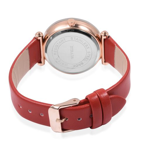 STRADA Japanese Movement Water Resistant Watch in Rose Gold Tone with Red Colour Strap.