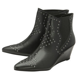 Ravel Black Reefton Leather Wedge Ankle Boots