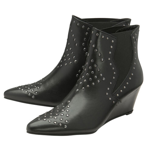 Ravel Black Reefton Leather Wedge Ankle Boots (Size-6)