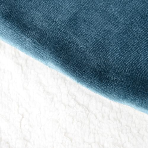 Autumn/Winter Collection - Set of 4 -  Turquoise Colour Supersoft Reversible Flannel Sherpa Cushion Covers (45x45 cm)