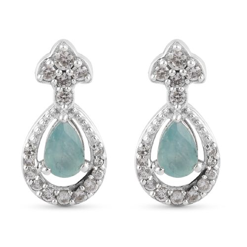 Grandidierite and Natural Cambodian Zircon Dangling Earrings (with Push Back) in Platinum Overlay St