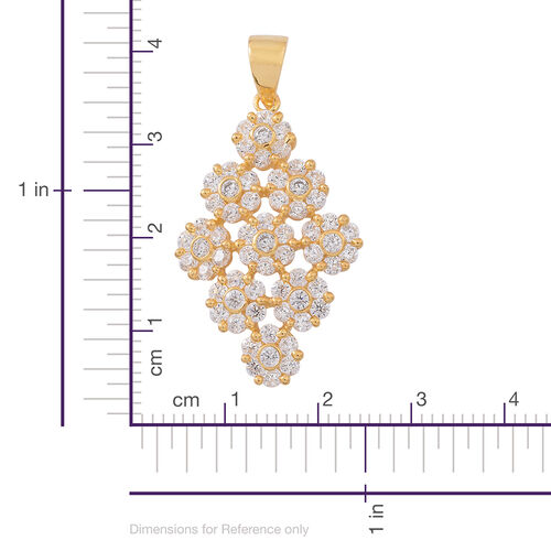 ELANZA AAA Simulated Diamond (Rnd) Floral Pendant in 14K Gold Overlay Sterling Silver