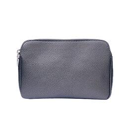 Kris Ana Triple Zipper Crossbody Bag (23x7x18cm) with Detachable Shoulder Strap- Gunmetal
