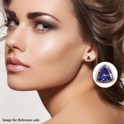 ILIANA 18K Yellow Gold AAA Tanzanite Stud Earrings (with Screw Back) 0.84 Ct.