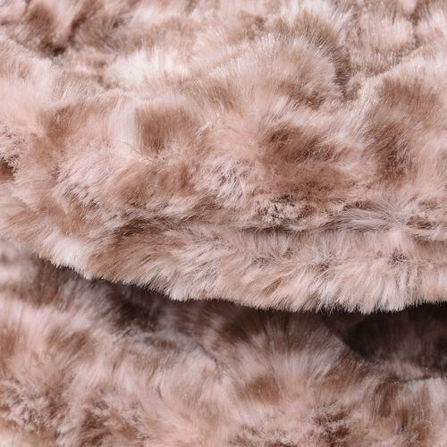 Leopard Skin Pattern Faux-Fur Hand Cuffs (9.5x12 Cm) and Faux Fur Infinity Scarf (Size 32x24 Cm) Pink Colour