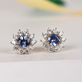 9K Yellow Gold Tanzanite and Natural Cambodian Zircon Floral Stud Earrings (with Push Back)