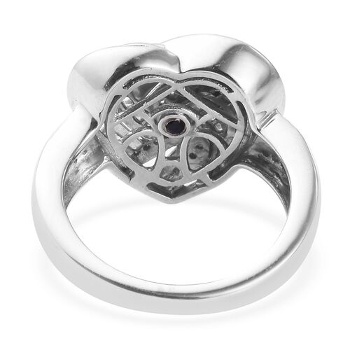 GP Diamond and Blue Sapphire Heart Ring in Platinum Overlay Sterling Silver