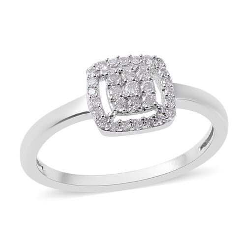 9K White Gold SGL Certified Diamond (I3/G-H) Cluster Ring 0.20 Ct.