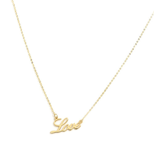 Italian Made 9K Yellow Gold Love Necklace (Size 18)