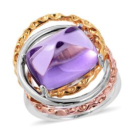 RACHEL GALLEY Sugarloaf Cut Amethyst Ring in Rhodium, Rose and Yellow Gold Overlay Sterling Silver 1