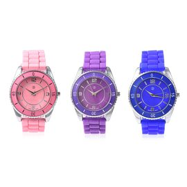 Set of 3 - STRADA Japanese Movement Water Resistant Watch in Stainless Steel with Pink, Purple and B