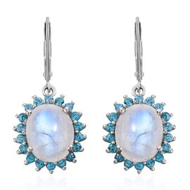 Sri Lankan Rainbow Moonstone (Ovl 12x10mm), Signity Pariaba Topaz Lever Back Earrings in Platinum Overlay Sterling Silver 12.250 Ct.