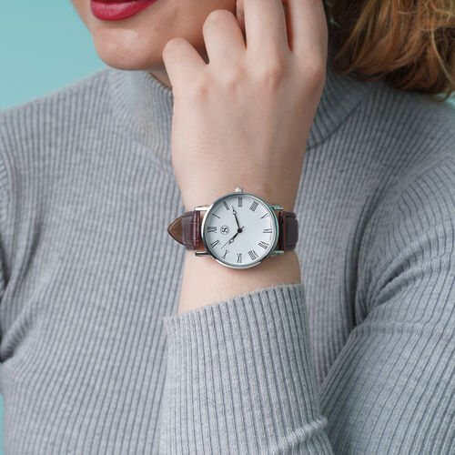 Personalise Engravable STRADA Japanese Movement Watch with Silver Tone and Brown Strap