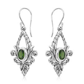 Royal Bali Collection - Russian Diopside (Ovl) Floral Hook Earrings in Sterling Silver 2.86 Ct.