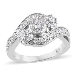 J Francis - Platinum Overlay Sterling Silver (Rnd) Cluster Ring Made with SWAROVSKI ZIRCONIA