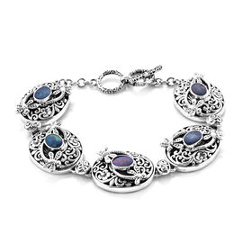 Royal Bali Australian Boulder Opal Floral Dragonfly Toggle Bar Bracelet in Silver 7.5 with Extender