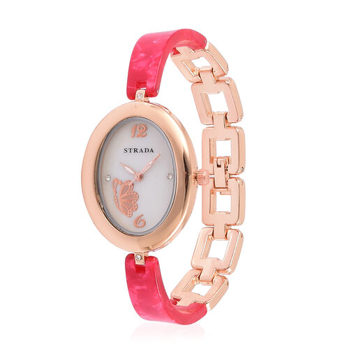 STRADA Japanese Movement White Austrian Crystal Studded MOP Dial Watch in Rose Gold Tone with Stainless Steel Back and Red Colour Strap