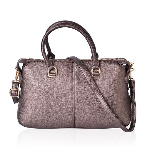Bronze Colour Tote Bag with Adjustable and Removable Shoulder Strap (Size 36X22X14 Cm)