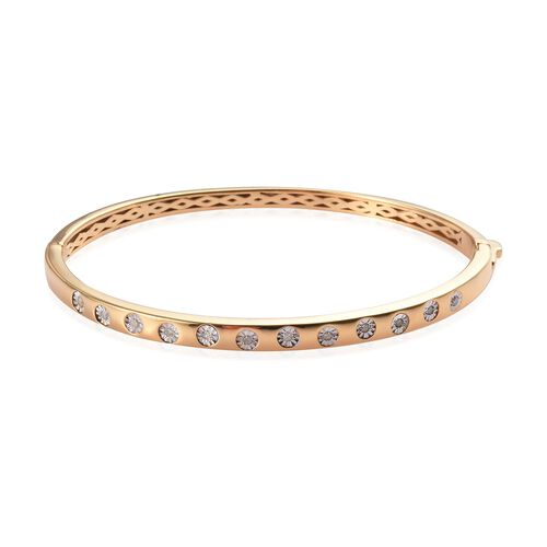 0.20 Ct Diamond Stacker Bangle in Gold Plated Sterling Silver 7.5 Inch