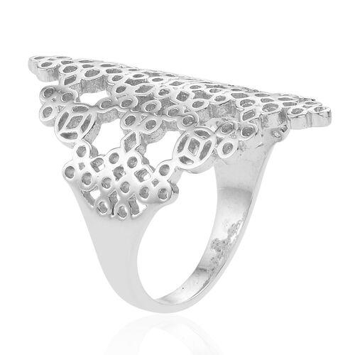 Designer Inspired Rhodium Plated Sterling Silver Leaf Ring, Silver wt.5.50 Gms.