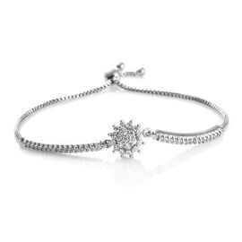 J Francis - Platinum Overlay Sterling Silver (Rnd) Adjustable Bracelet (Size 6.5 to 9.5) Made with SWAROVSKI ZIRCONIA , Silver wt 7.89 Gms