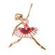Ballerina Enamelled Brooch in Gold Tone