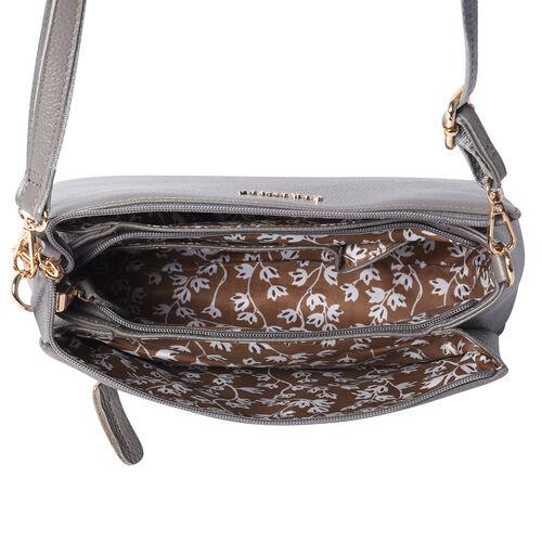 SENCILLEZ 100% Genuine Leather Crossbody Bag with Adjustable Shoulder Strap and Zipper Closure (Size 28x9x17cm) - Grey