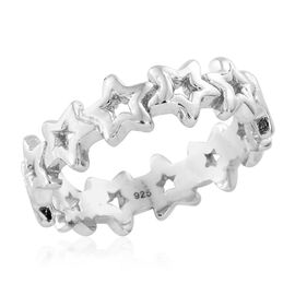 Platinum Overlay Sterling Silver Star Eternity Ring, Silver wt. 4.32 Gms.