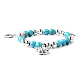 Blue Howlite (Rnd), Stretchable Beads Bracelet (Size 7) with charm in Antique Silver Plated 50.00 Ct