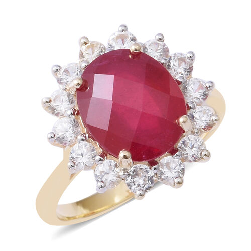 9.6 Ct AAA African Ruby and White Zircon Halo Ring in 9K Gold 3.3 Grams