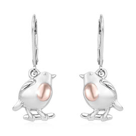 Rose Gold and Platinum Overlay Sterling Silver Bird Earrings (with Lever Back)