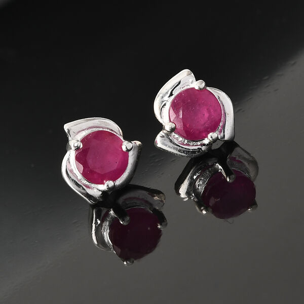African Ruby(FF) (Rnd) Stud Earrings (with Push Back) in Sterling Silver 1.09 Ct.