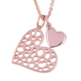 RACHEL GALLEY Heart Pendant With Chain in Rose Gold Plated Sterling Silver 10.98 Grams Size 30 Inch