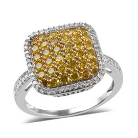 9K White Gold Yellow and White Diamond (Rnd) Ring 1.250 Ct.