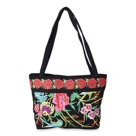 SHANGHAI  COLLECTION - Embroidered Flower and Bird Pattern Tote Bag with Zipper Closure and External