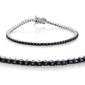 GP Blue Diamond (Rnd) Kanchanaburi Blue Sapphire Tennis Bracelet (Size 7.5) in Platinum Overlay Sterling Silver 0.360 Ct.