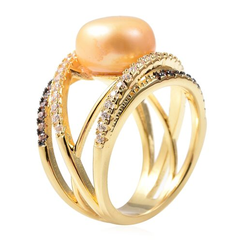Freshwater Golden Pearl and Simulated Champagne and White Diamond Criss Cross Ring in Gold Tone