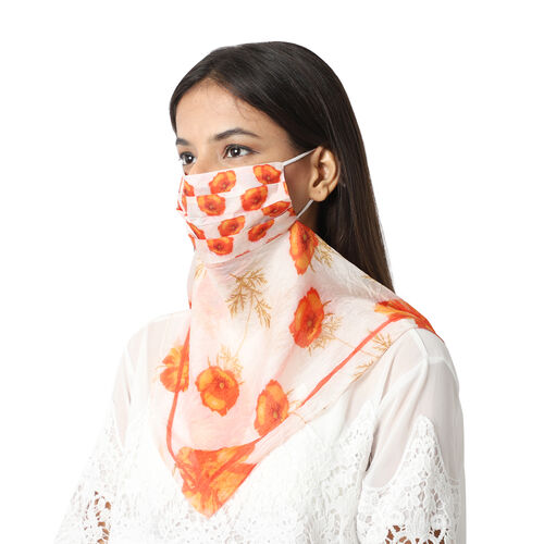 New Arrival- 2 in 1 Floral Pattern 100% Mulberry Silk Scarf and Protective Face Covering in Cream an