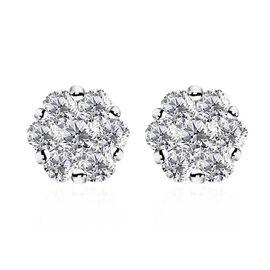 RHAPSODY 950 Platinum IGI Certified Diamond (Rnd) (VS/E-F) Pressure Set  Earrings 1.000 Ct.