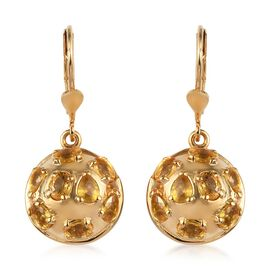 3.75 Ct Yellow Sapphire Drop Earrings in Gold Plated Sterling Silver 6 Grams