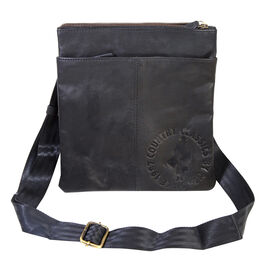 MCS Country Classics: 100% Genuine Leather Unisex Crossbody Messenger Bag (26 x 28 Cms)- Black