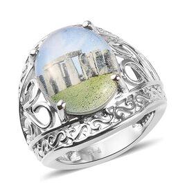 Picture Quartz Ring in Platinum Plated 6.00 Ct