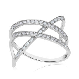 Diamond Criss-Cross Overlap Ring in Platinum Overlay Sterling Silver 0.27 Ct.