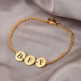 Personalised Engravable Multi Initial Disc Bracelet Size 7.5Inch