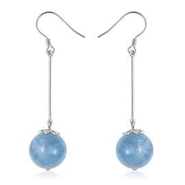 28 Ct Espirito Santo Aquamarine Dangle Hook Earrings in Rhodium Plated Sterling Silver