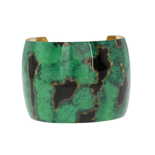 Meena Work Antique Cuff Bangle (Size 7)- Green