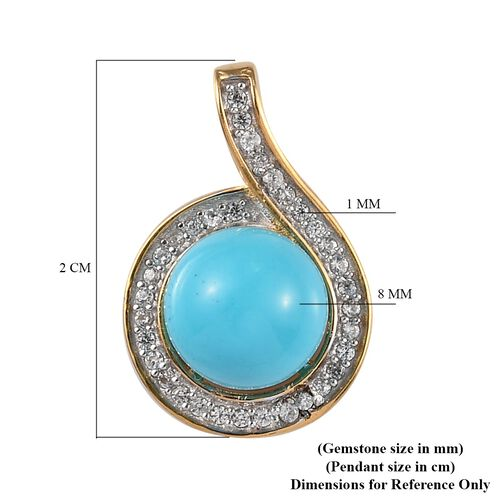 Arizona Sleeping Beauty Turquoise and Natural Cambodian Zircon Pendant in 14K Gold Overlay Sterling Silver 4.04 Ct.