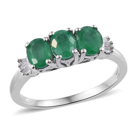 1 Carat Emerald and Diamond Classic Ring in Rhodium Plated Sterling Silver