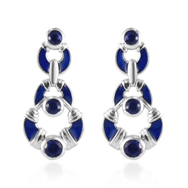 Masoala Sapphire Earrings (with Push Back) in Platinum Overlay Sterling Silver 3.00 Ct, Silver wt 6.