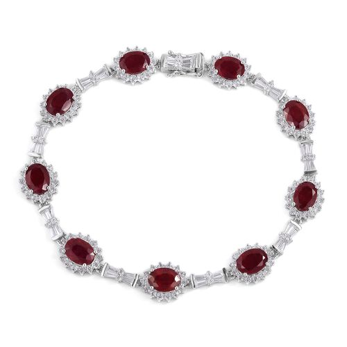 African Ruby (Ovl), Natural White Cambodian Zircon Bracelet (Size 7.50) in Rhodium Plated Sterling Silver 20.650 Ct. Silver wt 10.80 Gms. Number of Gemstone 174